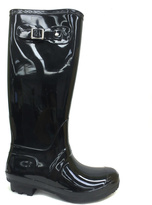 Bamboo Black Buckle Padinton Jelly Rain Boot