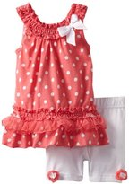 Little Lass Baby-Girls Infant 2 Piece Dress Set With Polka Dots