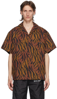 Palm Angels Brown and Black Tiger Bowling Shirt