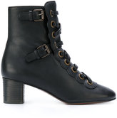 Chloé lace-up boots - women - Calf Leather/Leather/Lama Fur - 36