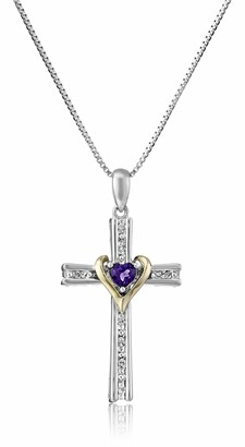 Amazon Collection Sterling Silver and 14k Gold Amethyst Heart and Diamond-Accent Cross Pendant Necklace 18""