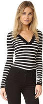 Veronica Beard Striped V Neck Bodysuit