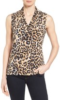 Anne Klein Women's Leopard Print Pleat V-Neck Top