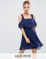 Asos Cami Cold Shoulder Flutter Sleeve Mini Dress