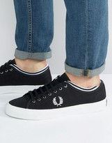 Fred Perry Kendrick Tipped Canvas Trainers In Black
