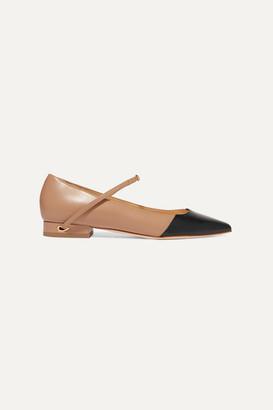 Jennifer Chamandi Lorenzo Two-tone Leather Point-toe Flats - Beige