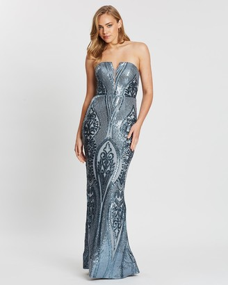 Bariano Maia Strapless Pattern Sequin Gown