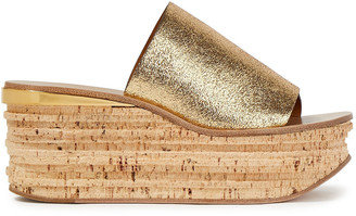 Chloé Camille Metallic Cracked-leather Wedge Sandals