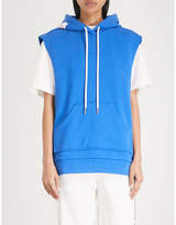 Mo&Co. Sleeveless cotton-blend hoody