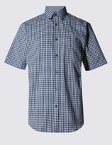 Marks and Spencer Pure Cotton Short Sleeve Gingham Shirt