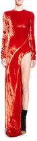 Haider Ackermann Long-Sleeve Velvet Leg-Hole Gown, Orange