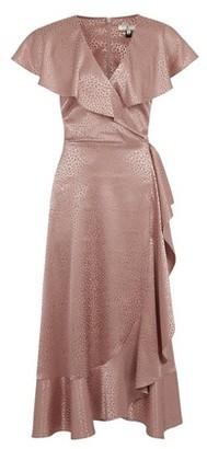 Dorothy Perkins Womens **Billie & Blossom Tall Pink Jacquard Ruffle Midi Dress, Pink