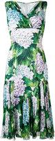 Dolce & Gabbana hydrangea print pleated dress