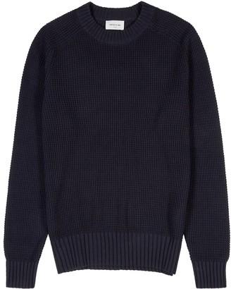 Wood Wood Kevin navy waffle-knit jumper