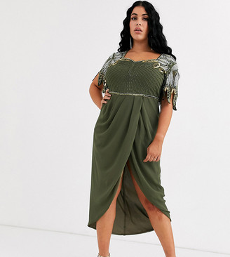 Virgos Lounge Plus drape front midi dress with shoulder detail in khaki