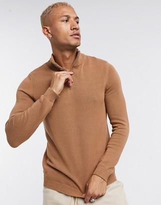 ASOS DESIGN midweight cotton half zip sweater in tobacco