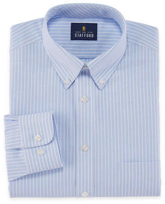 STAFFORD Stafford Travel Wrinkle Free Stretch Oxford Mens Button Down Collar Long Sleeve Dress Shirt