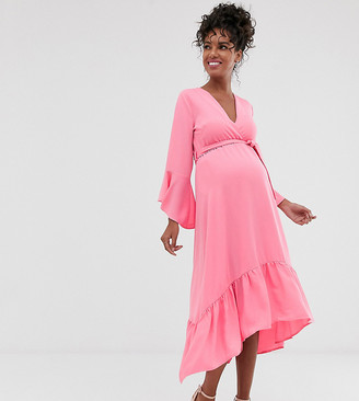 Queen Bee Maternity wrap front fluted sleeve midi dress in pink