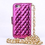 Tikeda- Long Pearl Chain Fashion Wallet Flip Feature with Credit/id Card Slots/holder&strap Pu Leather Bling Case Cover for Apple Iphone 6 4.7inch
