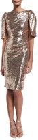 Talbot Runhof Lobata Cape-Sleeve Sequined Sheath Cocktail Dress, Rose Golden