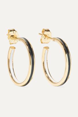 Alison Lou Small Double Linear 14-karat Gold And Enamel Hoop Earrings - one size