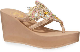 Premium Collection By Yellow Box Kara Multicolored Jeweled Metallic Leather Wedge Sandals