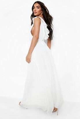 boohoo Frill Wrap Detail Chiffon Maxi Bridesmaid Dress