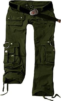 Juicy Trendz Womens Cargo Trousers Military Ladies Army Combat Multi Pocket Pants Green