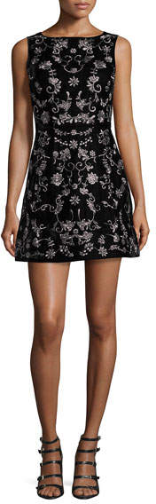 Alice + Olivia Lindsey Embroidered Mini Dress, Black
