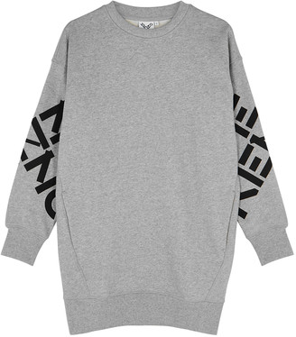 Kenzo Grey cotton-blend sweatshirt dress