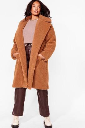 Nasty Gal Womens I Won't Fur-get You Plus Faux Fur Coat - Black - 22