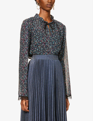 See by Chloe Floral-print lace-trim crepe shirt