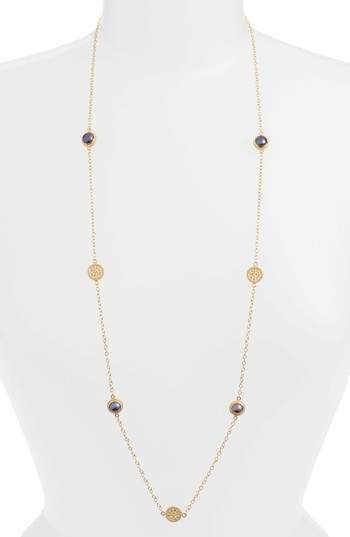 Anna Beck Genuine Blue Pearl Station Necklace