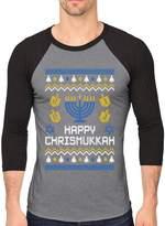 TeeStars Happy Chrismukkah Xmas Hanukkah Ugly Christmas 3/4 Sleeve Baseball Jersey Shirt