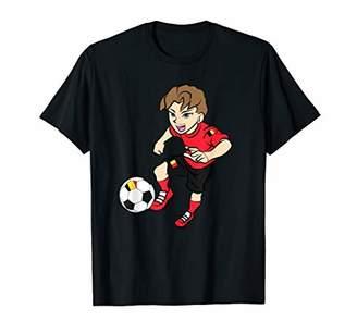 Running Soccer Player Shirt Belgium Flag Football Jersey T-Shirt