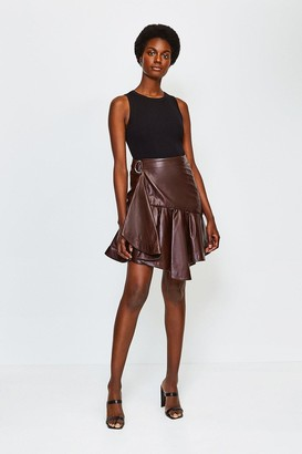 Karen Millen Leather Flippy Mini Skirt