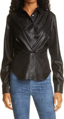 RtA Denim Faux Leather Button Up Shirt