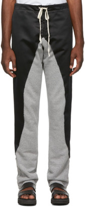 Greg Lauren Black 50/50 Satin/Terry Lounge Pants