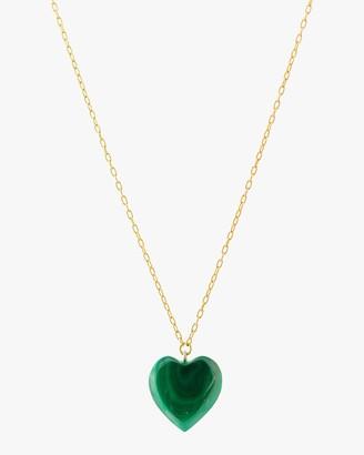 Haute Victoire Malachite Heart Pendant Necklace