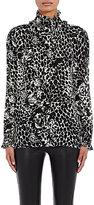 Saint Laurent Women's Ruffle Jaguar-Print Blouse-BLACK