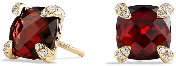 David Yurman Ch'telaine Earrings with Garnet in 18K Gold