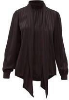 Saint Laurent Striped-silk Pussy-bow Blouse - Womens - Black