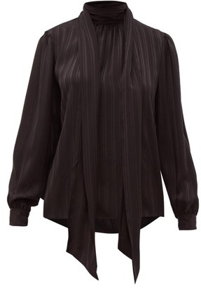 Saint Laurent Striped-silk Pussy-bow Blouse - Womens - Black