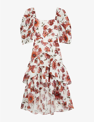 The Kooples Floral-print silk-crepe wrap dress