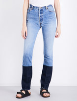 RE/DONE Stove Pipe frayed-hem slim-fit high-rise jeans