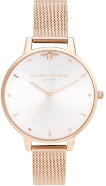 Olivia Burton Women's Queen Bee Rose Gold-Tone Stainless Steel Mesh Bracelet Watch 38mm