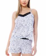 Catherine Malandrino White Peony Tulip Camisole & Shorts Pajama Set