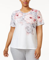 Alfred Dunner Plus Size Rose Hill Collection Scallop-Edge Studded Top