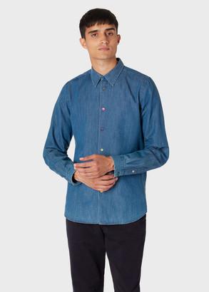 Paul Smith Men's Tailored-Fit Mid-Wash Denim Shirt With Multi-Colour Button Placket