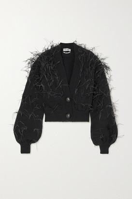 ATTICO Feather-embellished Wool Cardigan - Black